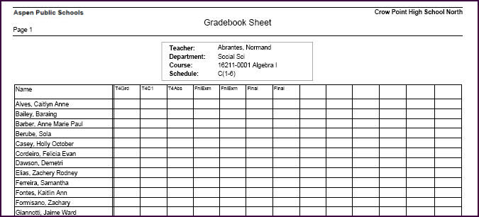 To run the Blank Grading Sheet report: